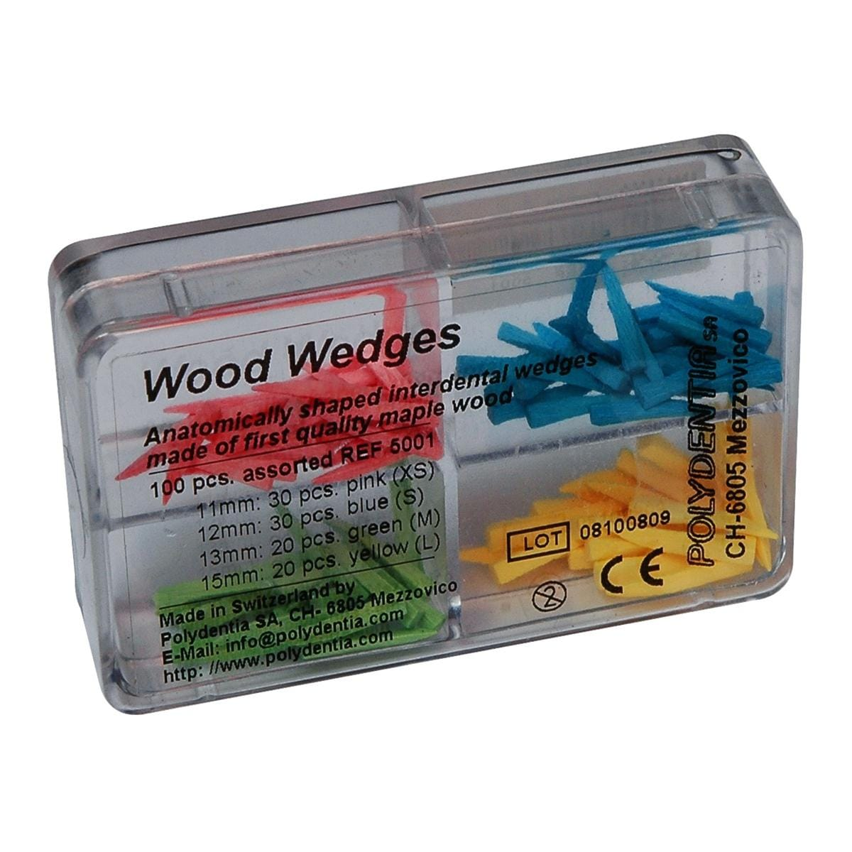 Polydentia Wedges Sycamore Wood Assorted 100pk