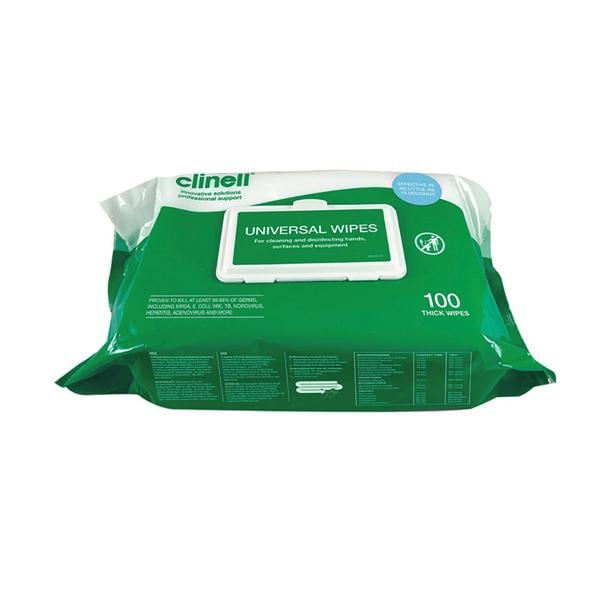 Clinell Universal Hand and Surface Wipes Pack of 100